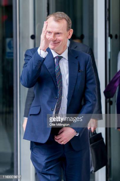Andrew Marr leaves BBC Broadcasting House after presenting The Andrew Marr Show on July 21st 2019 in London England