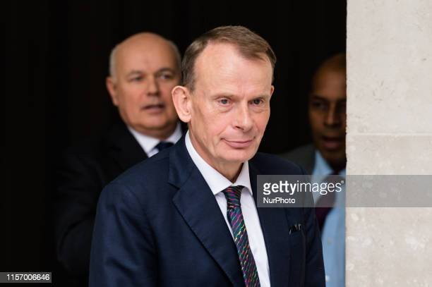 Andrew Marr leaves the BBC Broadcasting House in central London after presenting The Andrew Marr Show on 21 July 2019 in London England