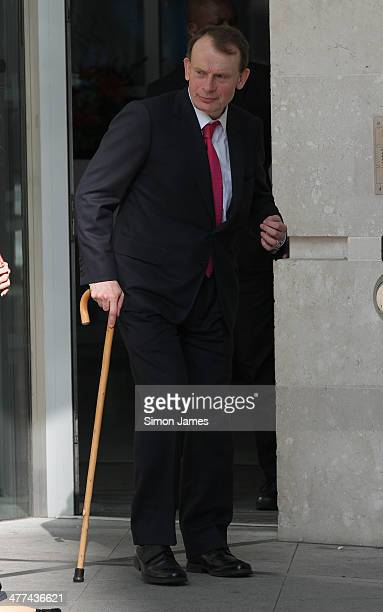 Andrew Marr sighted leaving the BBC studios building on March 9 2014 in London England