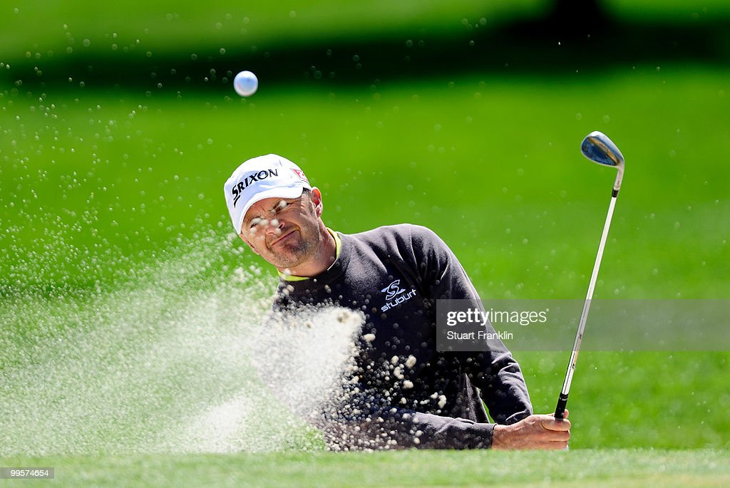 Andrew Marshall of England plays his bunker shot on the 12th hole during the third round of the Open Cala Millor Mallorca at Pula golf club on May 15, 2010 in Mallorca, Spain.