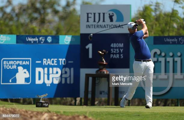 Andrew Martin of Australia hits his tee shot on the 1st hole during day two of the 2017 Fiji International at Natadola Bay Championship Golf Course...