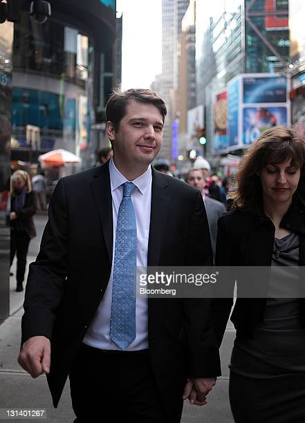 Andrew Mason chief executive officer of Groupon Inc exits the Nasdaq MarketSite in New York US on Friday Nov 4 2011 Groupon Inc relied on some of...