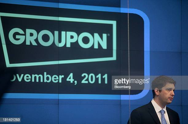 Andrew Mason chief executive officer of Groupon Inc participates in the opening bell ceremony at the Nasdaq MarketSite in New York US on Friday Nov 4...