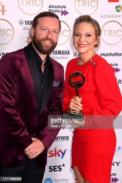 Andrew Maxwell with Kellie Bright who wins the Soap Actor Award during the TRIC Awards 2020 at The Grosvenor House Hotel on March 10 2020 in London...