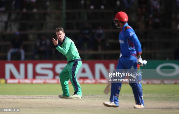 Andrew McBrine of Ireland in action during The ICC Cricket World Cup Qualifier between Ireland and Afghanistan at The Harare Sports Club on March 23...