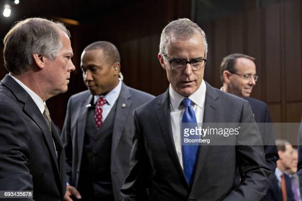 Andrew McCabe acting director of the Federal Bureau of Investigation arrives to a Senate Intelligence Committee hearing in Washington DC US on...