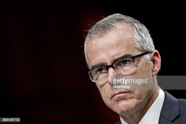 Andrew McCabe acting director of the Federal Bureau of Investigation listens during a Senate Intelligence Committee hearing in Washington DC US on...