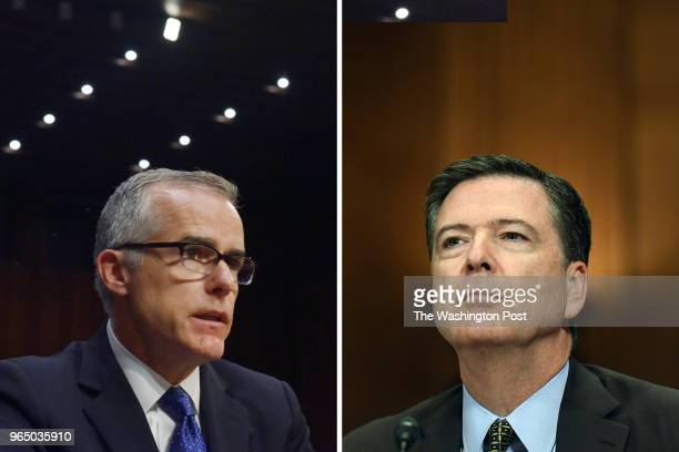Andrew McCabe left and James Comey