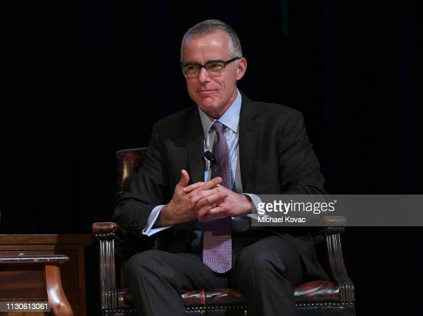 Andrew McCabe presents onstage at the American Jewish University on March 14 2019 in Los Angeles California