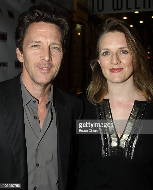 "Andrew McCarthy and his wife Dolores Rice pose at the Opening Night of ""Bloody Bloody Andrew Jackson"" on Broadway at The Bernard B. Jacobs Theatre on..."