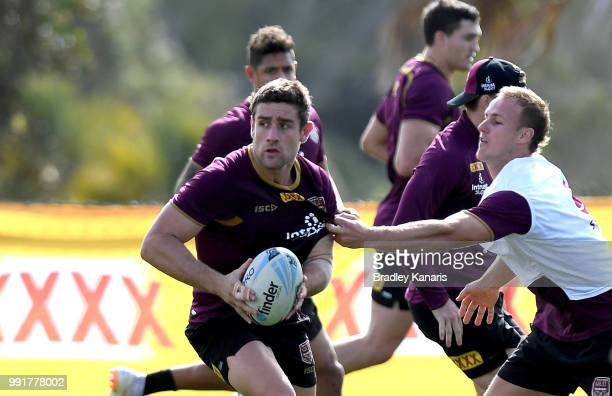Andrew McCullough breaks away from the defence during a Queensland Maroons State of Origin training session at Sanctuary Cove on July 5 2018 in Gold...