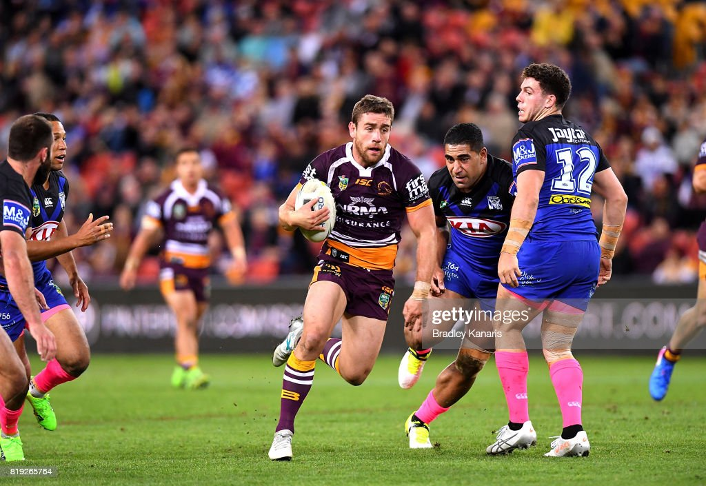 Andrew McCullough of the Broncos breaks through the defence during the round 20 NRL match between the Brisbane Broncos and the Canterbury Bulldogs at Suncorp Stadium on July 20, 2017 in Brisbane, Australia.