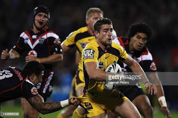 Andrew McCullough of the Broncos makes a break during the round nine NRL match between the New Zealand Warriors and the Brisbane Broncos at Mt Smart...