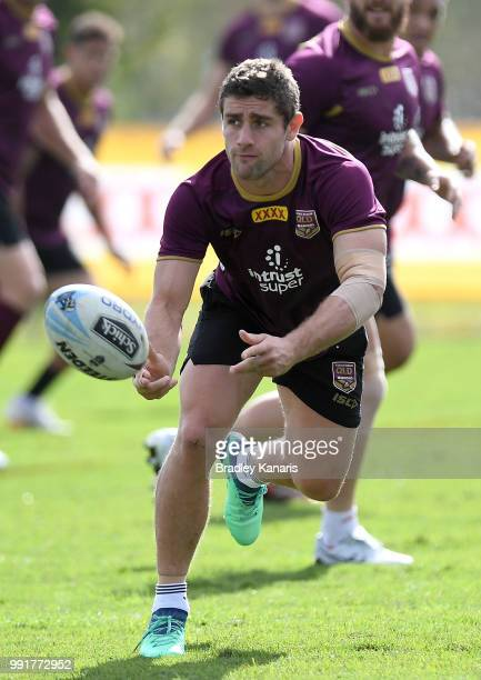 Andrew McCullough passes the ball during a Queensland Maroons State of Origin training session at Sanctuary Cove on July 5 2018 in Gold Coast...