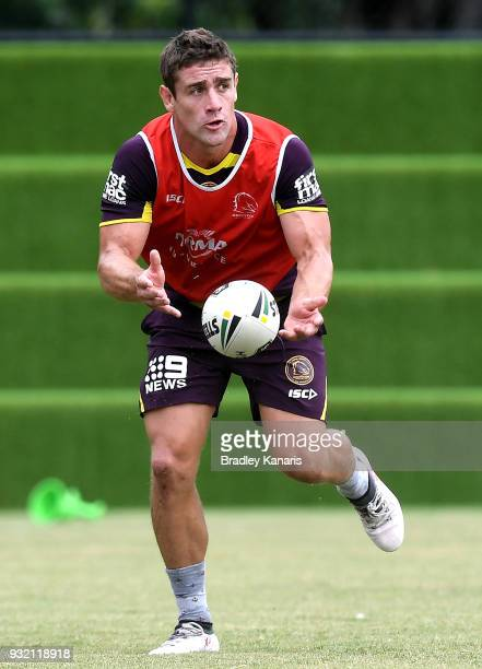 Andrew McCullough passes the ball during the Brisbane Broncos NRL training session on March 15 2018 in Brisbane Australia
