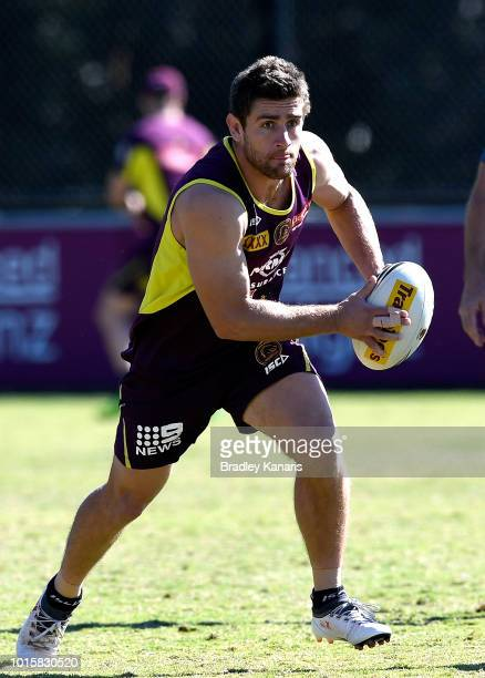 Andrew McCullough runs with the ball during a Brisbane Broncos NRL training session on August 13 2018 in Brisbane Australia