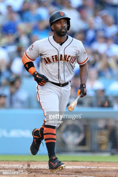 Andrew McCutchen bats of the San Francisco Giants during the game against the Los Angeles Dodgers at Dodger Stadium on Thursday March 29 2018 in Los...