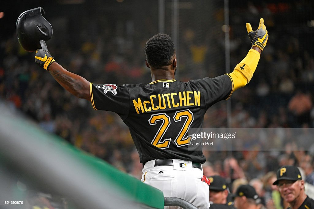 Andrew McCutchen #22 of the Pittsburgh Pirates acknowledges the fans with a curtain call after hitting a grand slam home run in the second inning during the game against the Baltimore Orioles at PNC Park on September 26, 2017 in Pittsburgh, Pennsylvania. The grand slam home run was the first of McCutchen's career.