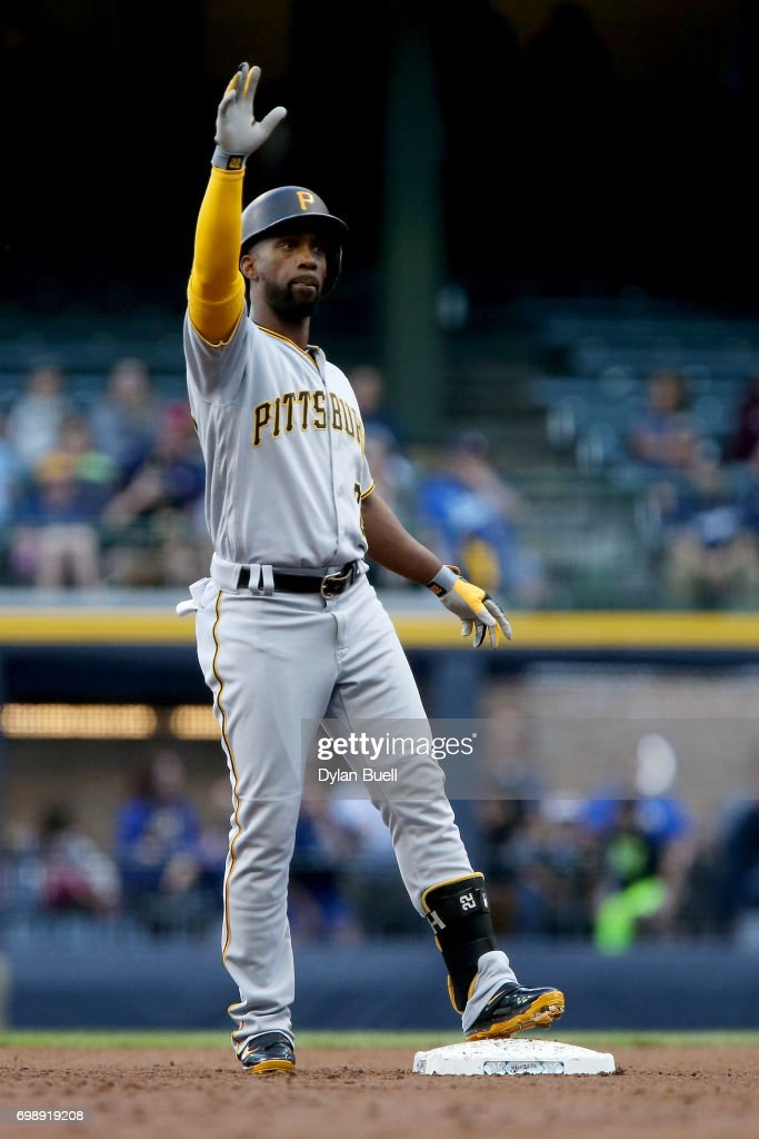 Andrew McCutchen #22 of the Pittsburgh Pirates celebrates after hitting a double in the first inning against the Milwaukee Brewers at Miller Park on June 20, 2017 in Milwaukee, Wisconsin.