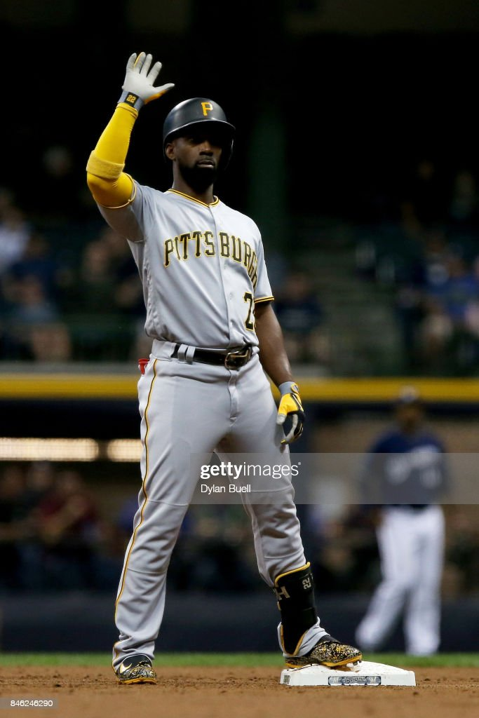 Andrew McCutchen #22 of the Pittsburgh Pirates celebrates after hitting a double in the third inning against the Milwaukee Brewers at Miller Park on September 12, 2017 in Milwaukee, Wisconsin.