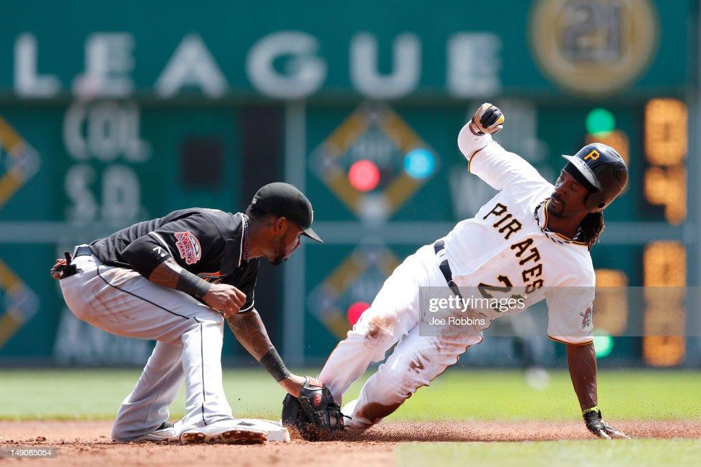 Andrew McCutchen #22 of the Pittsburgh Pirates gets tagged out trying to steal second base by Jose Reyes #7 of the Miami Marlins during the game at PNC Park on July 22, 2012 in Pittsburgh, Pennsylvania. The Pirates won 3-0.