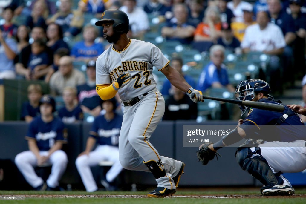 Andrew McCutchen #22 of the Pittsburgh Pirates hits a double in the first inning against the Milwaukee Brewers at Miller Park on June 20, 2017 in Milwaukee, Wisconsin.