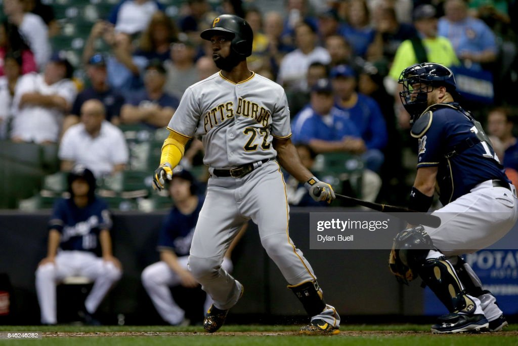 Andrew McCutchen #22 of the Pittsburgh Pirates hits a double in the third inning against the Milwaukee Brewers at Miller Park on September 12, 2017 in Milwaukee, Wisconsin.