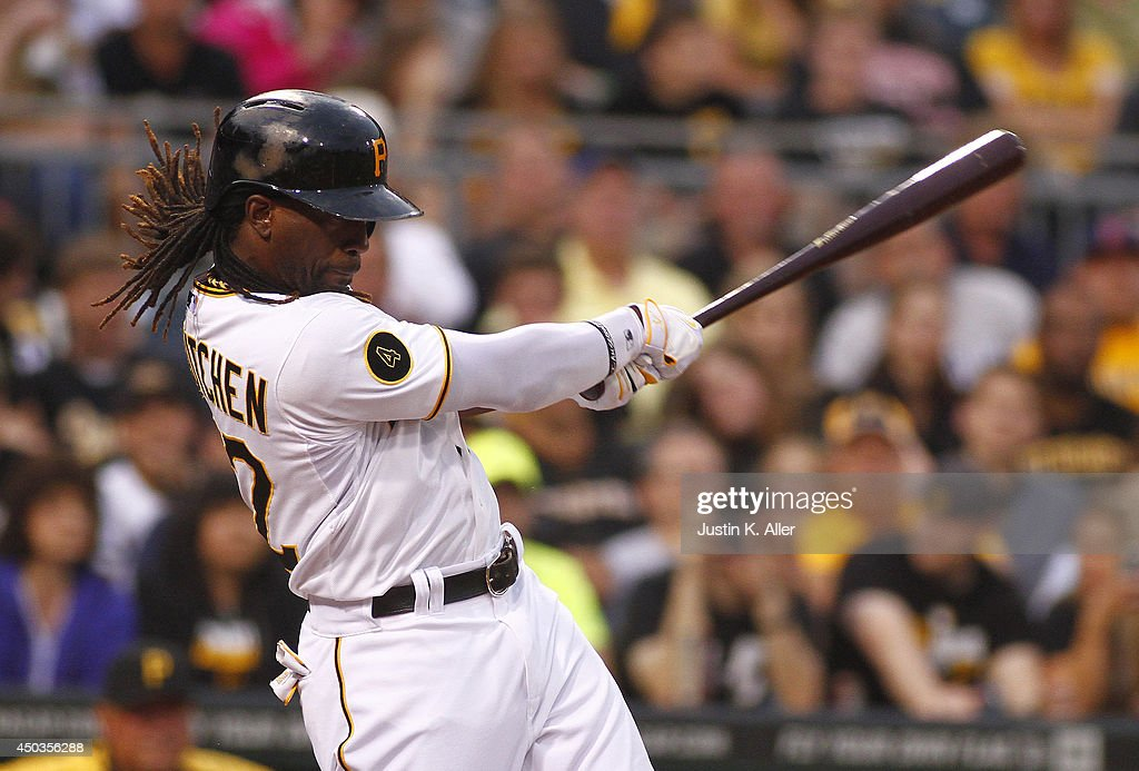 Andrew McCutchen #22 of the Pittsburgh Pirates hits a RBI double in the fifth inning against the Chicago Cubs during the game at PNC Park on June 9, 2014 in Pittsburgh, Pennsylvania.