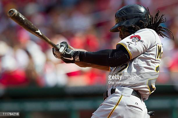 Andrew McCutchen of the Pittsburgh Pirates hits a single against the St Louis Cardinals at Busch Stadium on April 6 2011 in St Louis Missouri