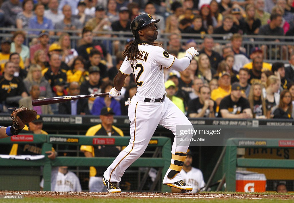 Andrew McCutchen #22 of the Pittsburgh Pirates hits a two run home run in the third inning against the Chicago Cubs during the game at PNC Park on June 9, 2014 in Pittsburgh, Pennsylvania.