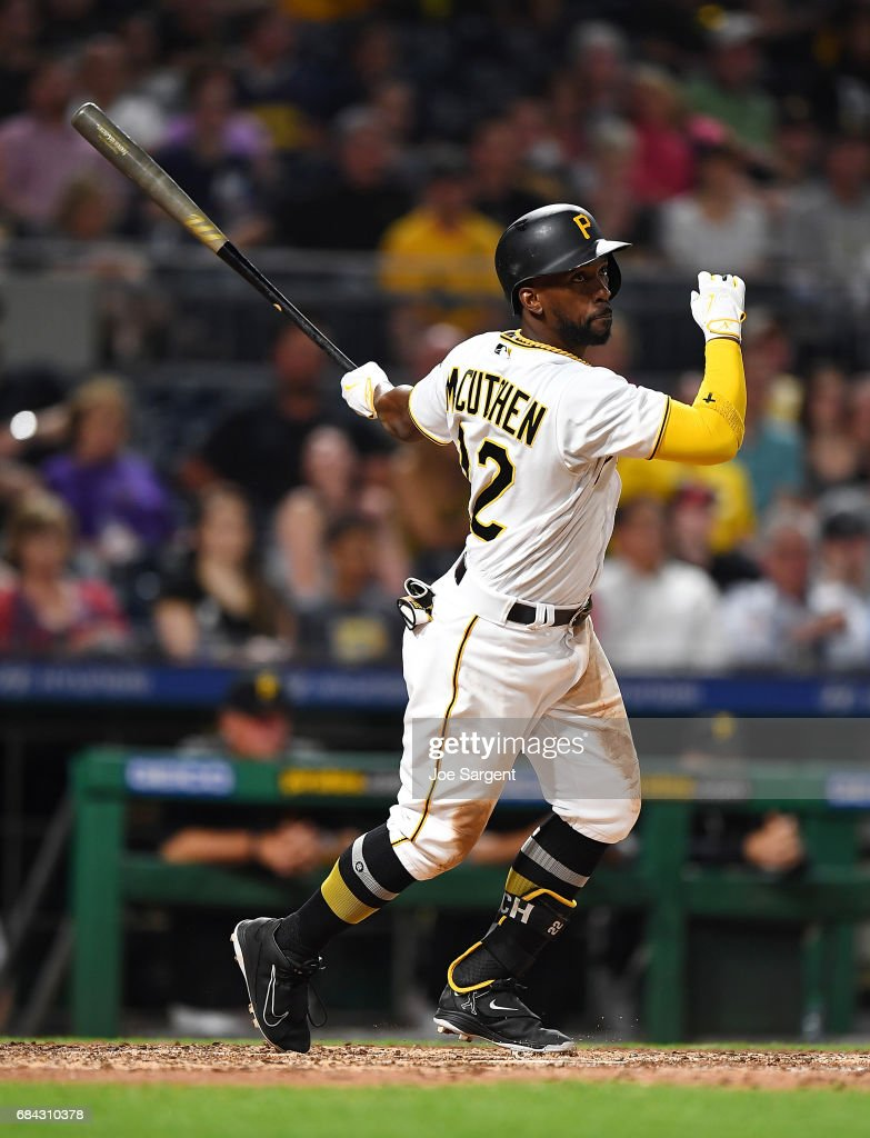 Andrew McCutchen #22 of the Pittsburgh Pirates hits an RBI single during the seventh inning against the Washington Nationals at PNC Park on May 17, 2017 in Pittsburgh, Pennsylvania.