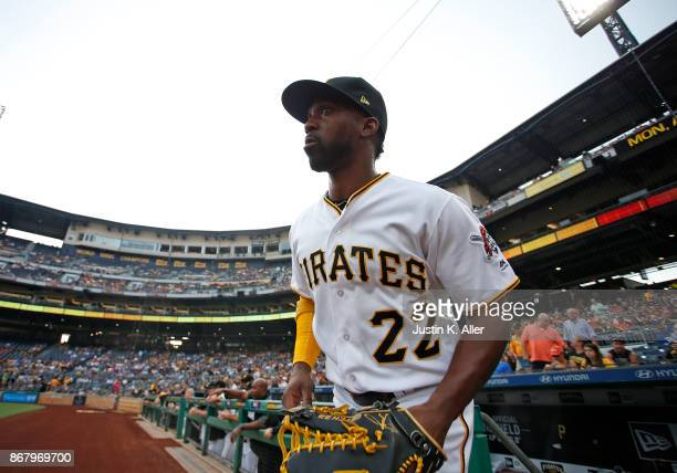 Andrew McCutchen of the Pittsburgh Pirates in action against the Los Angeles Dodgers at PNC Park on August 21 2017 in Pittsburgh Pennsylvania