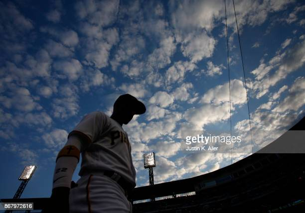Andrew McCutchen of the Pittsburgh Pirates in action against the Los Angeles Dodgers at PNC Park on August 23 2017 in Pittsburgh Pennsylvania