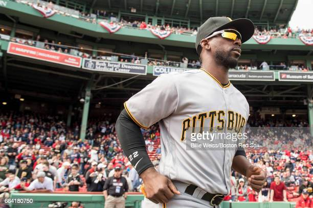 Andrew McCutchen of the Pittsburgh Pirates is introduced before an Opening Day game against the Boston Red Sox on April 3 2017 at Fenway Park in...