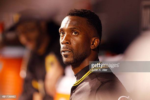 Andrew McCutchen of the Pittsburgh Pirates looks on in the dugout in the third inning during the National League Wild Card game against the Chicago...