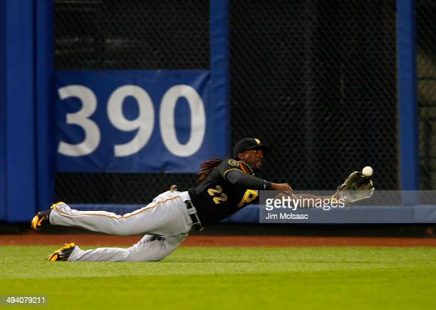 Andrew McCutchen of the Pittsburgh Pirates makes a catch on a ball hit by Juan Lagares of the New York Mets in the third inning at Citi Field on May...