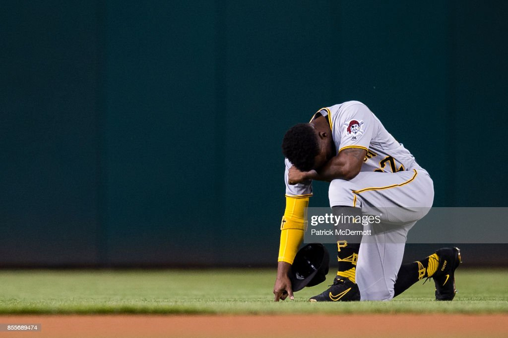 Andrew McCutchen #22 of the Pittsburgh Pirates prepares for a game against the Washington Nationals at Nationals Park on September 29, 2017 in Washington, DC.