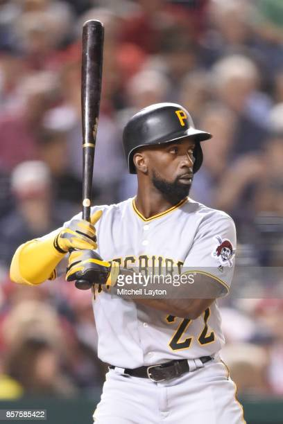 Andrew McCutchen of the Pittsburgh Pirates prepares for a pitch during a baseball game against the Washington Nationals at Nationals Park on...
