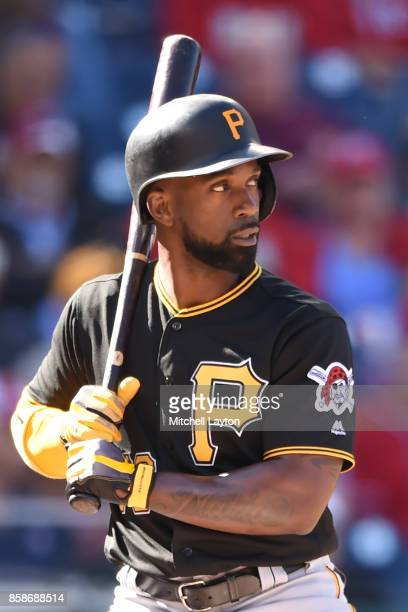 Andrew McCutchen of the Pittsburgh Pirates prepares for a pitch during a baseball game against the Washington Nationals at Nationals Park on October...