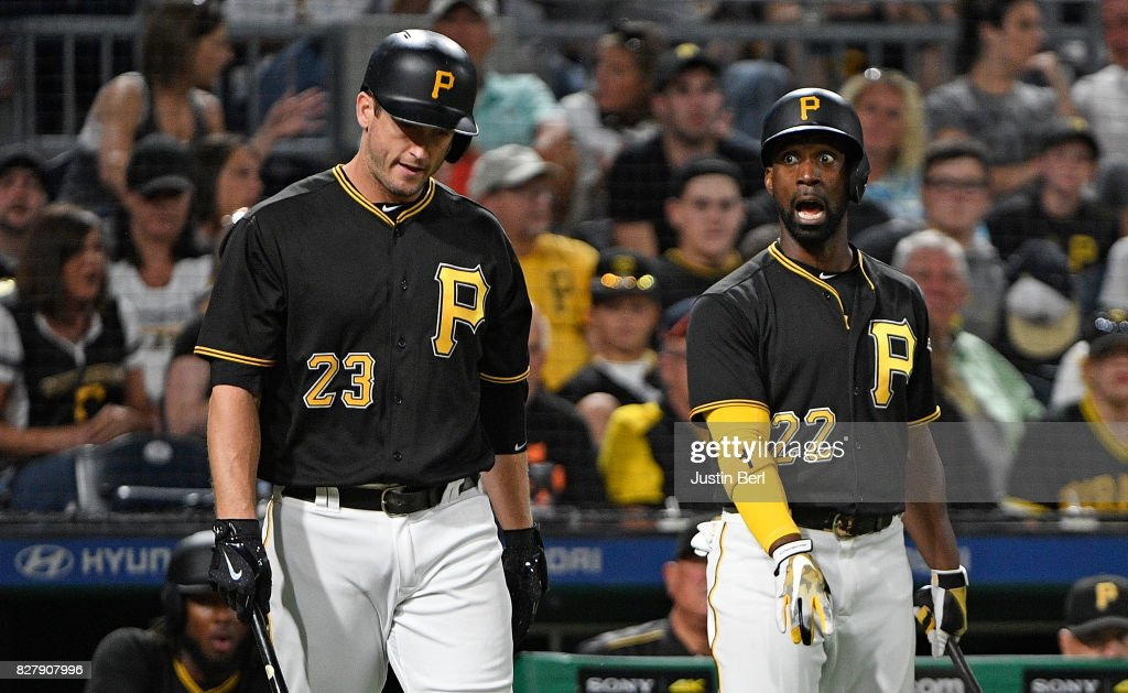 Andrew McCutchen #22 of the Pittsburgh Pirates reacts after being called out on strikes in the seventh inning during the game against the Detroit Tigers at PNC Park on August 8, 2017 in Pittsburgh, Pennsylvania.
