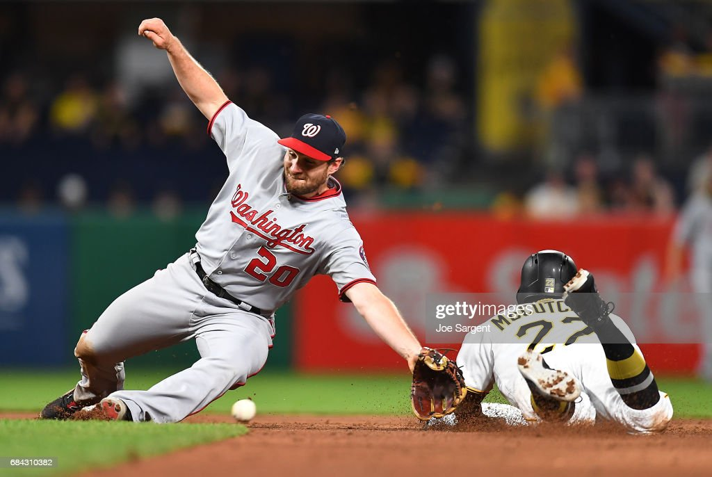 Andrew McCutchen #22 of the Pittsburgh Pirates steals second base ahead of the throw to Daniel Murphy #20 of the Washington Nationals at PNC Park on May 17, 2017 in Pittsburgh, Pennsylvania.