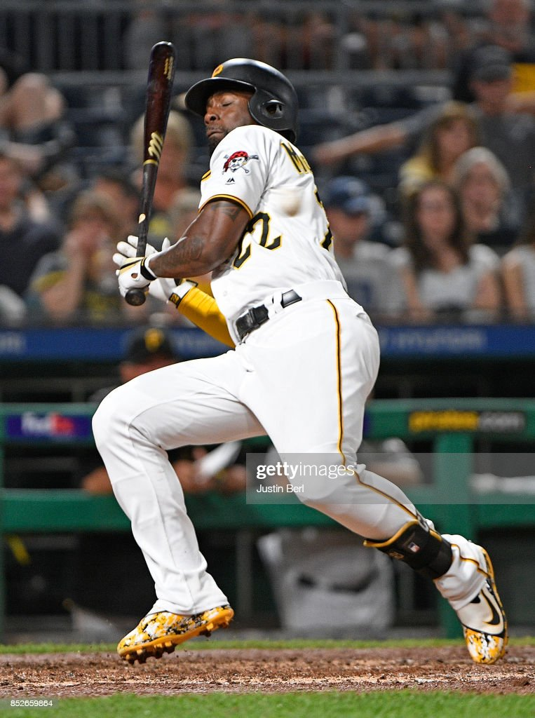 Andrew McCutchen #22 of the Pittsburgh Pirates tries to avoid an inside pitch by Sandy Alcantara #56 of the St. Louis Cardinals in the sixth inning during the game at PNC Park on September 23, 2017 in Pittsburgh, Pennsylvania.