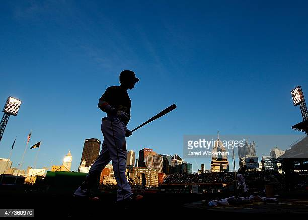 Andrew McCutchen of the Pittsburgh Pirates walks to the on deck circle in the second inning against the Chicago White Sox during the game at PNC Park...