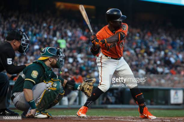 Andrew McCutchen of the San Francisco Giants at bat against the Oakland Athletics during the first inning at ATT Park on July 13 2018 in San...