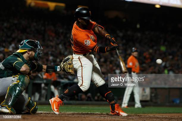 Andrew McCutchen of the San Francisco Giants at bat against the Oakland Athletics during the seventh inning at ATT Park on July 13 2018 in San...
