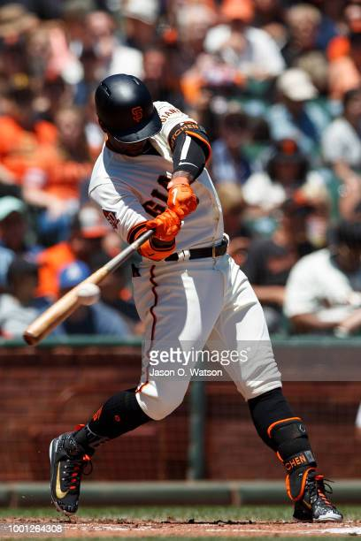 Andrew McCutchen of the San Francisco Giants at bat against the Oakland Athletics during the first inning at ATT Park on July 15 2018 in San...