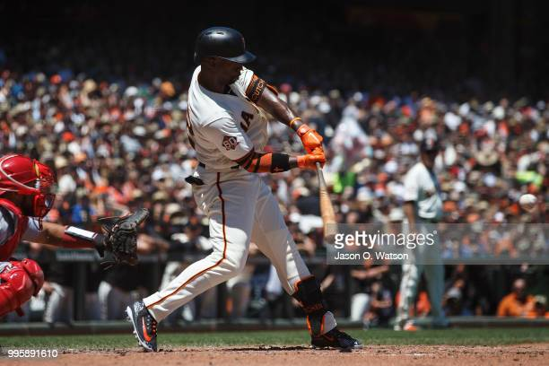 Andrew McCutchen of the San Francisco Giants at bat against the St Louis Cardinals during the third inning at ATT Park on July 8 2018 in San...