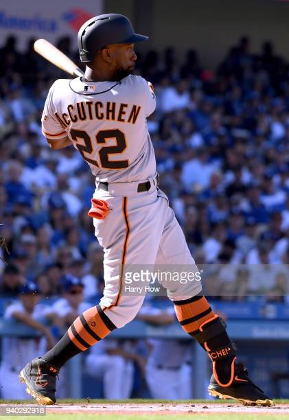 Andrew McCutchen of the San Francisco Giants at bat during the first inning against the Los Angeles Dodgers on the 2018 Major League Baseball opening...