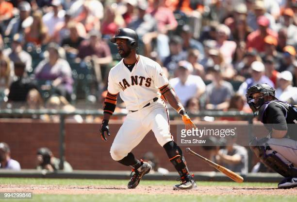 Andrew McCutchen of the San Francisco Giants bats against the Colorado Rockies at ATT Park on June 28 2018 in San Francisco California