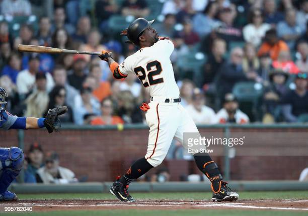 Andrew McCutchen of the San Francisco Giants bats against the Chicago Cubs in the first inning at ATT Park on July 10 2018 in San Francisco California